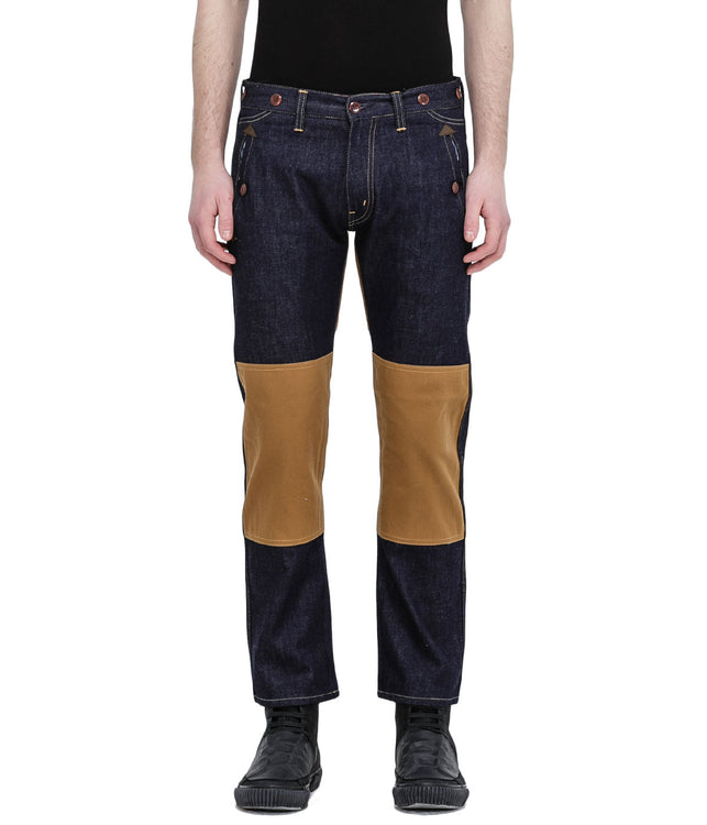 Navy Knee Patch Denim Jeans