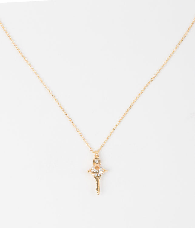 Yellow Gold Darianne Small Key Pendant Necklace