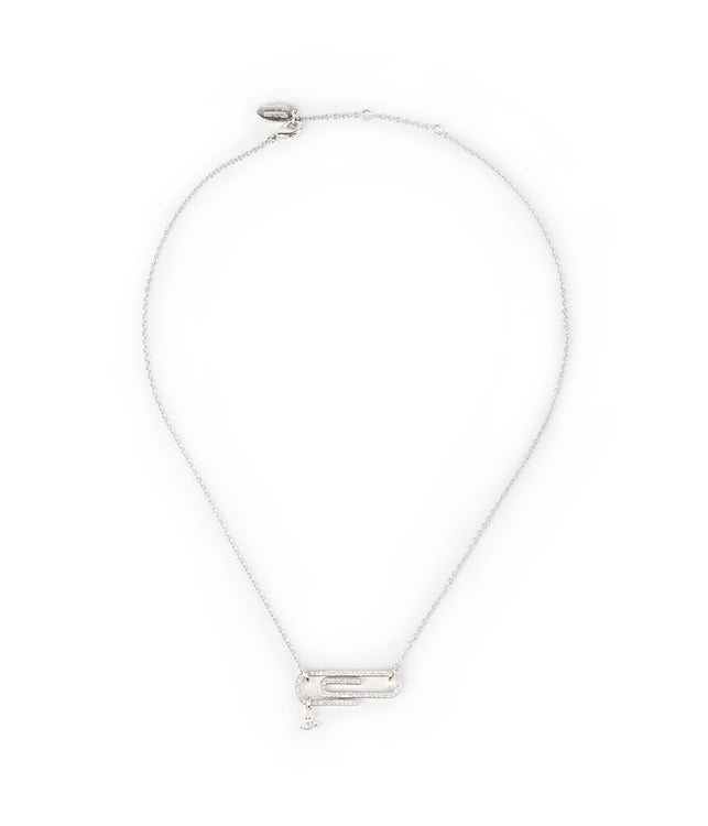 White Silver Paperclip Necklace