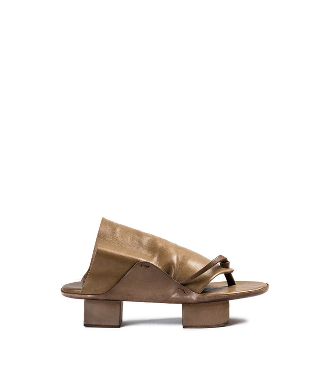Brown Leather Geta Sandals