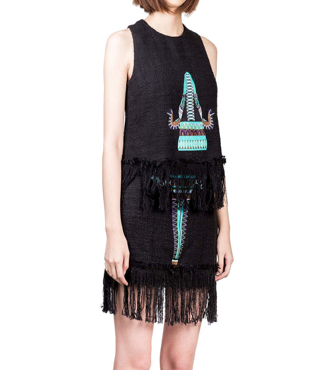 Embroidered Fringe Tank Top