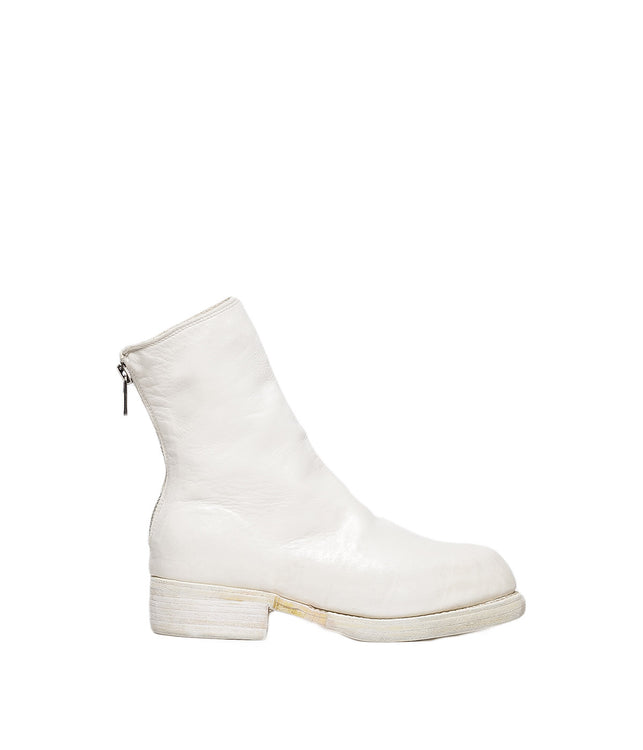 White Back Zip High Boots