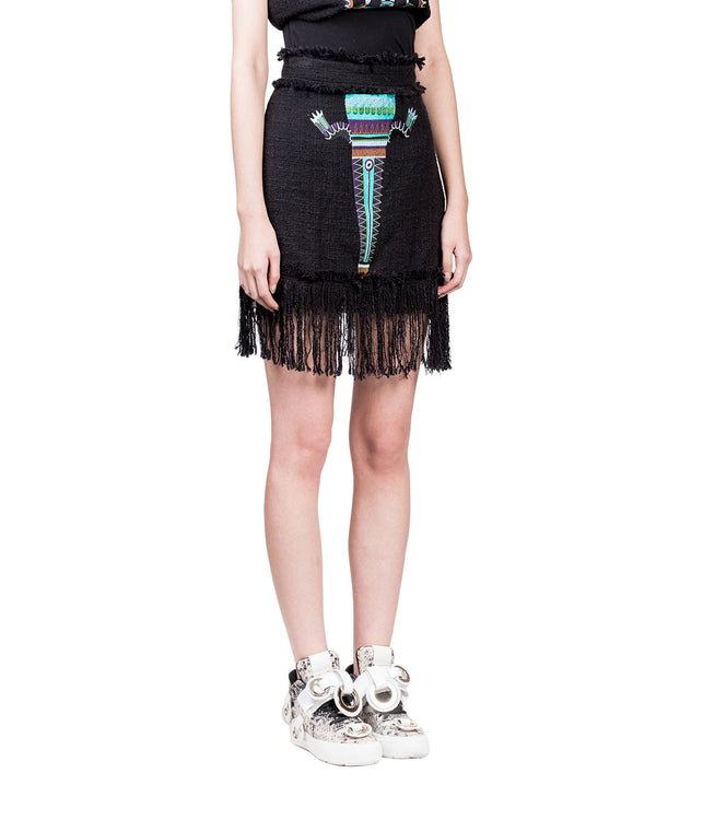 Embroidered Fringe Skirt