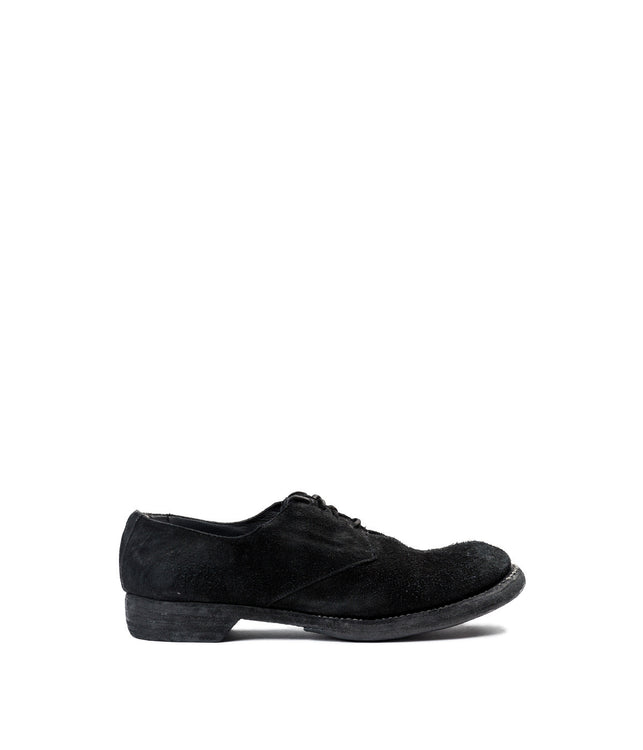 Black Reverse Calf Military Derby Shoes