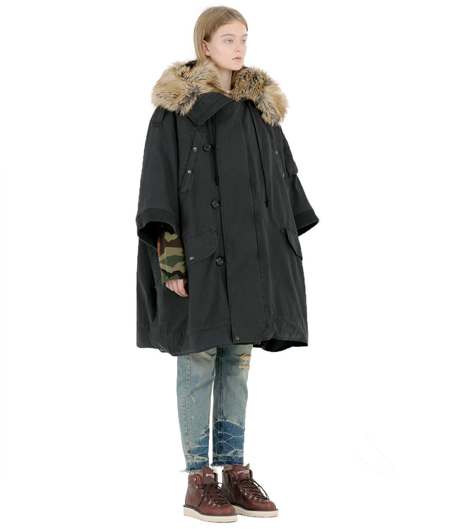 Black Fur Trimmed Cape Coat