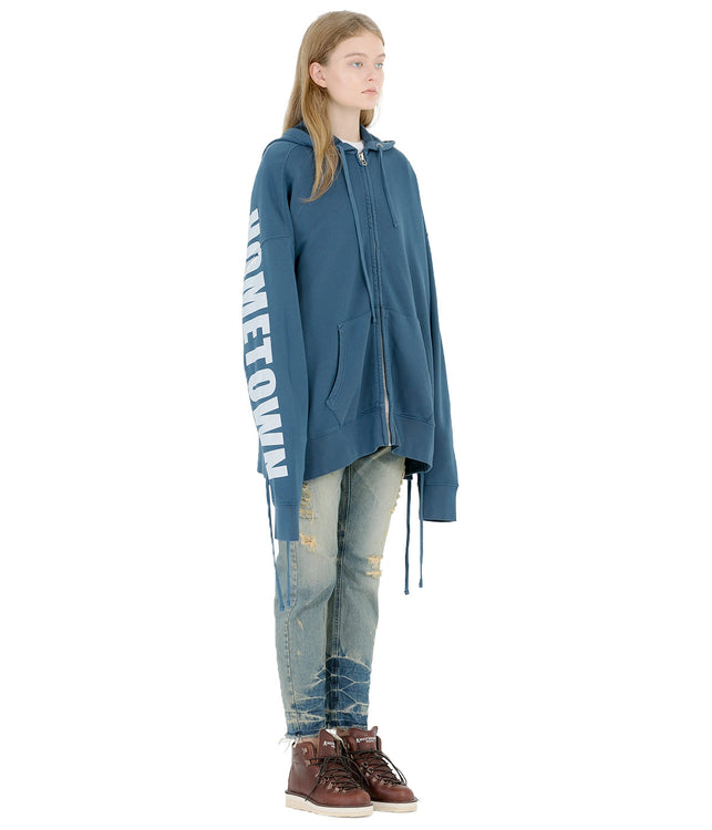 Blue Oversized Lace Up Hoodie