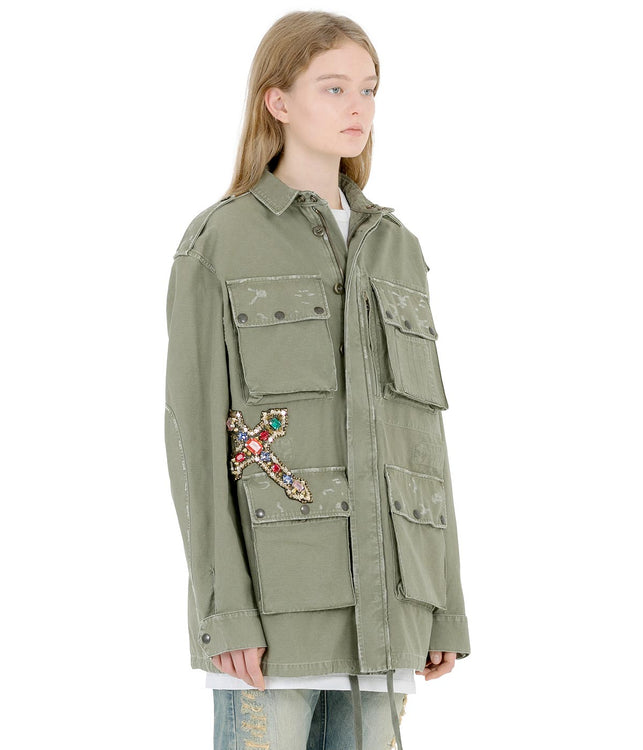 Khaki Green Jewelled Military Coat