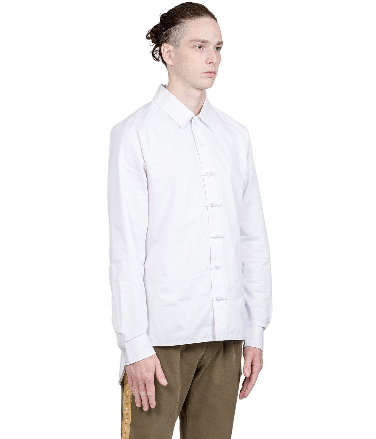 White Chinese Button-Up Shirt