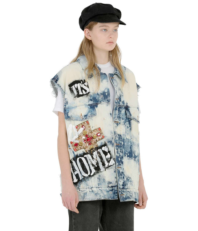 Blue Bleached Denim Vest