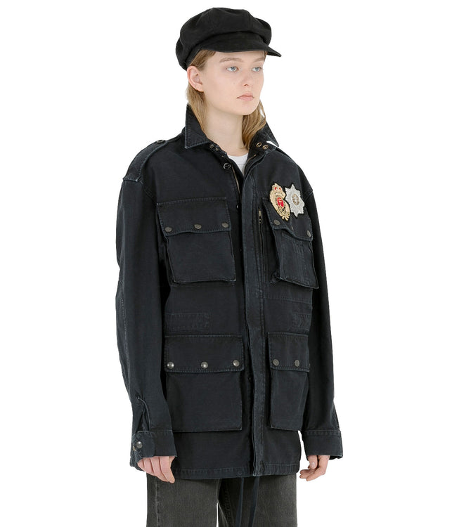 Black Military Patch Parka