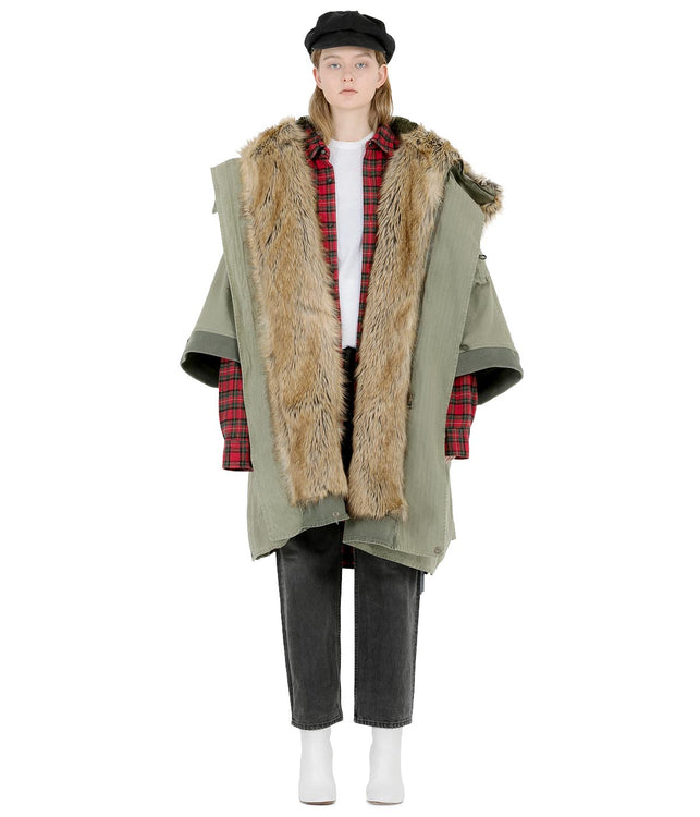 Khaki Green Fur Trimmed Cape Coat