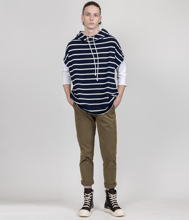 Navy Oversized Striped Hoodie