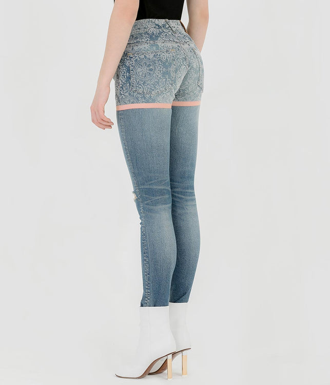 Blue Jacquard Denim Jeans