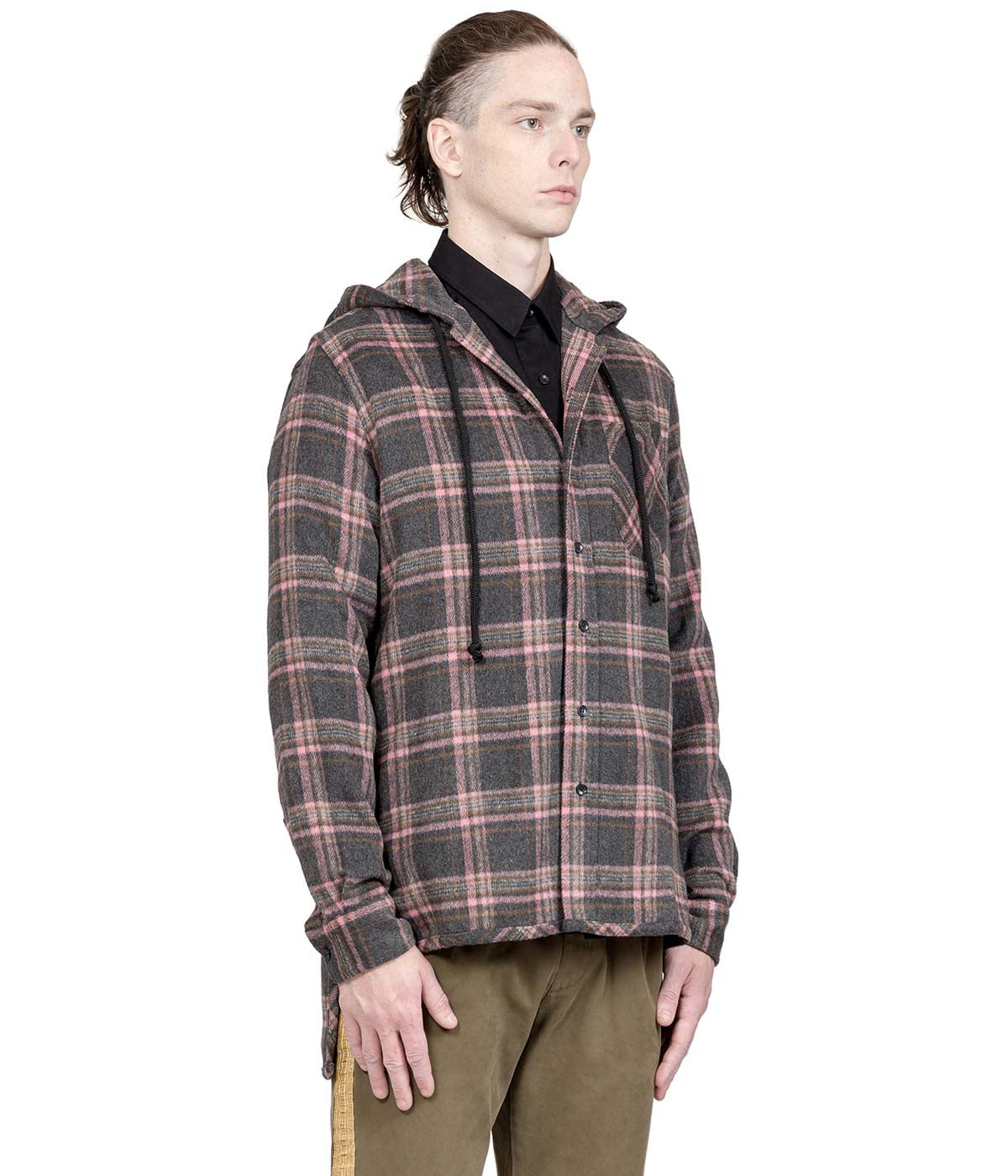 Grey Plaid Hooded Shirt