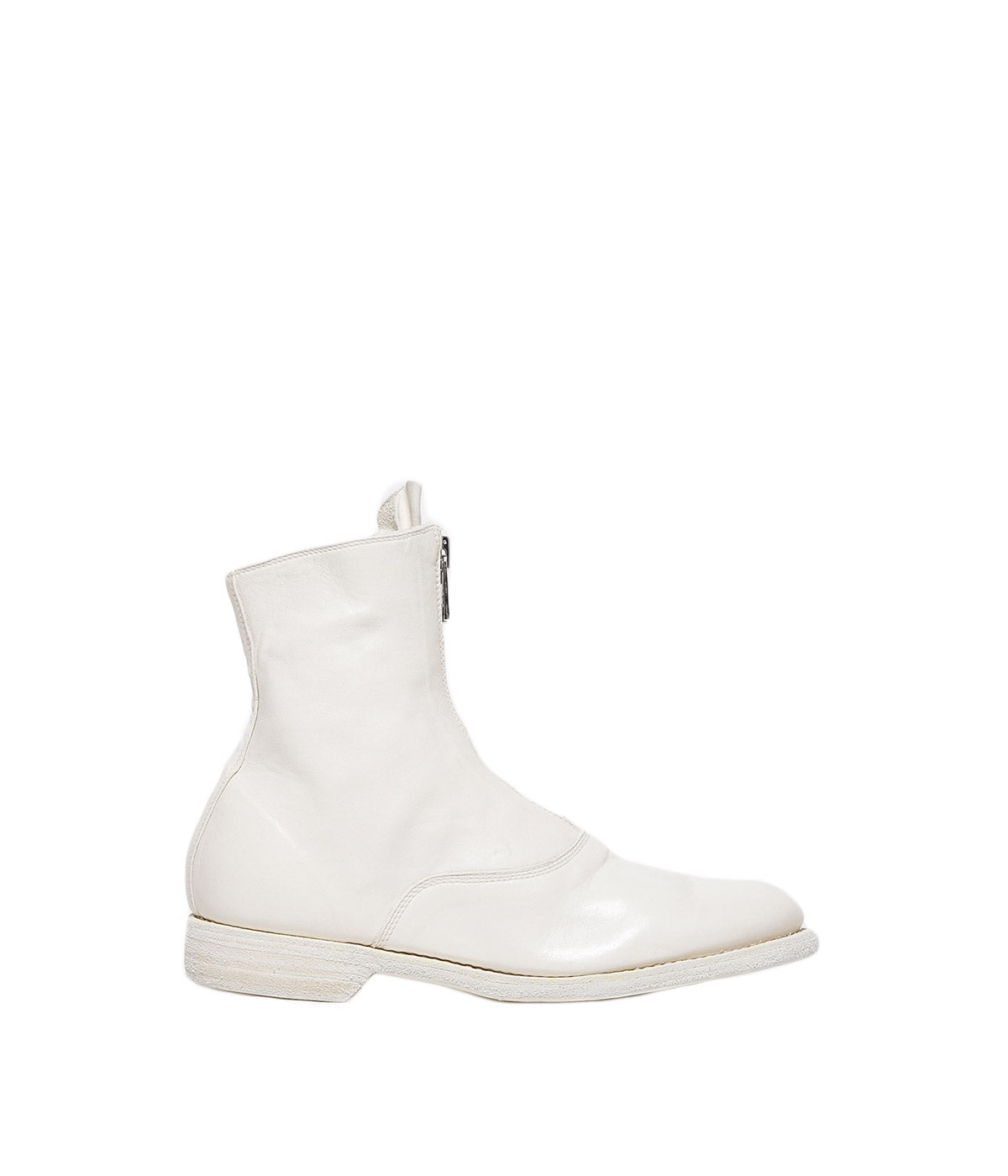 White Front Zip High Boots