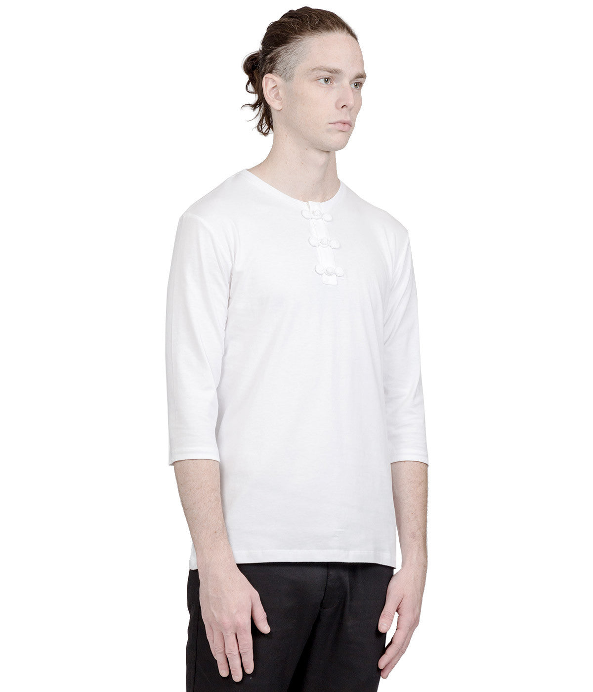 White Chinese Henley T-Shirt