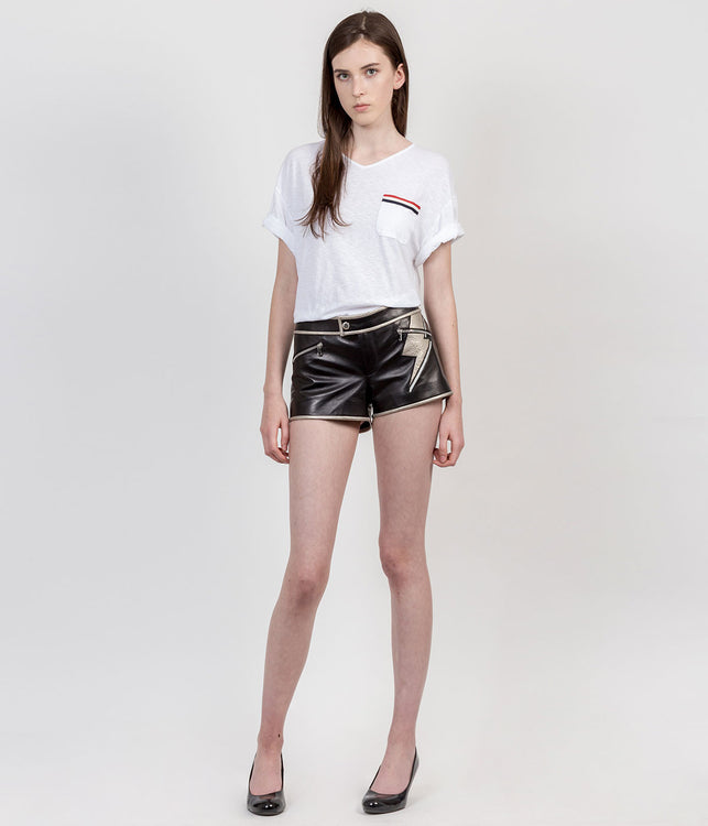 Black Thunder Bolt Leather Shorts