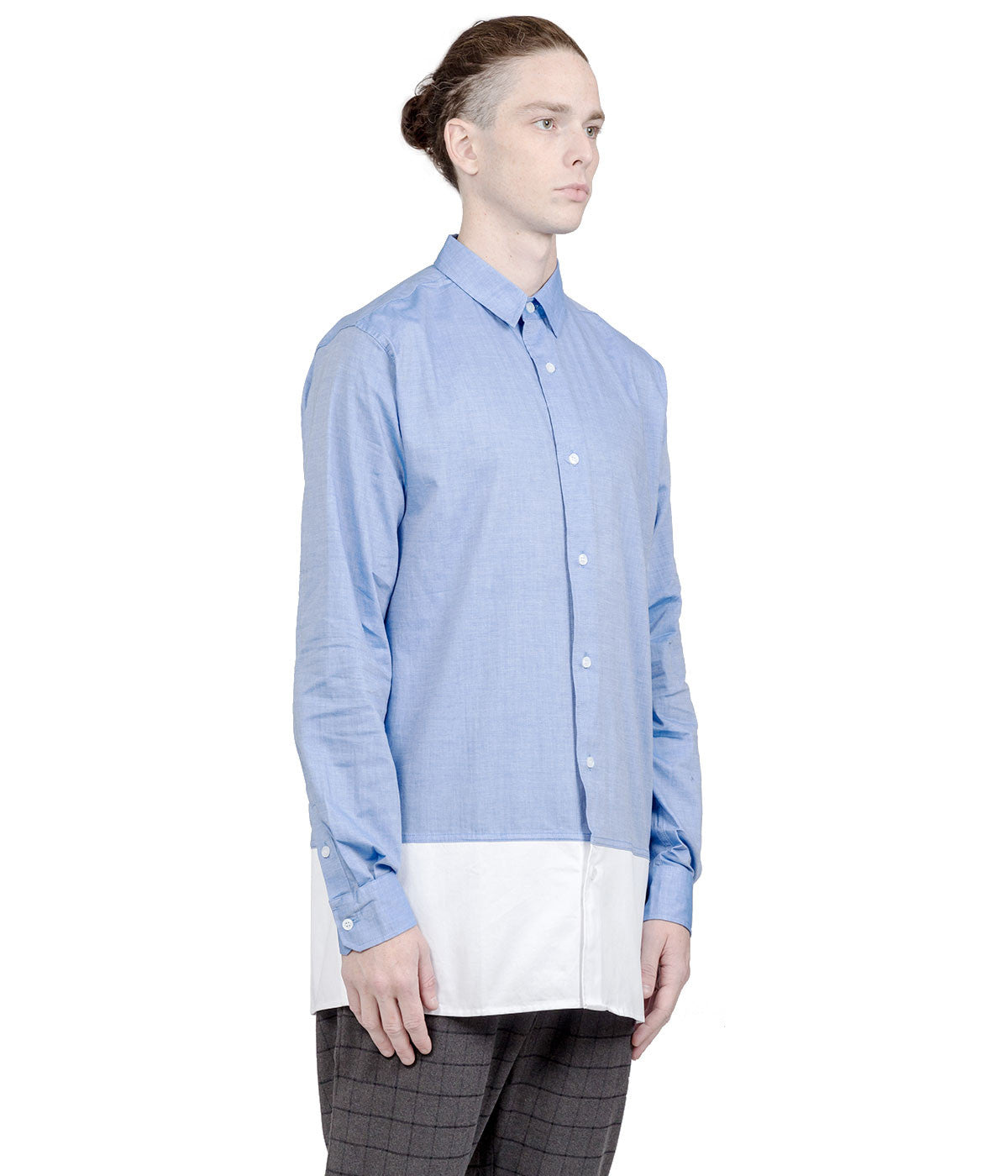 Blue & White Elongated Button-Up Shirt