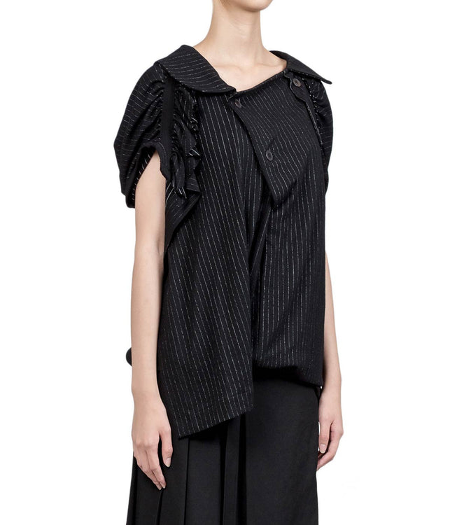 Black Asymmetrical Striped Blouse