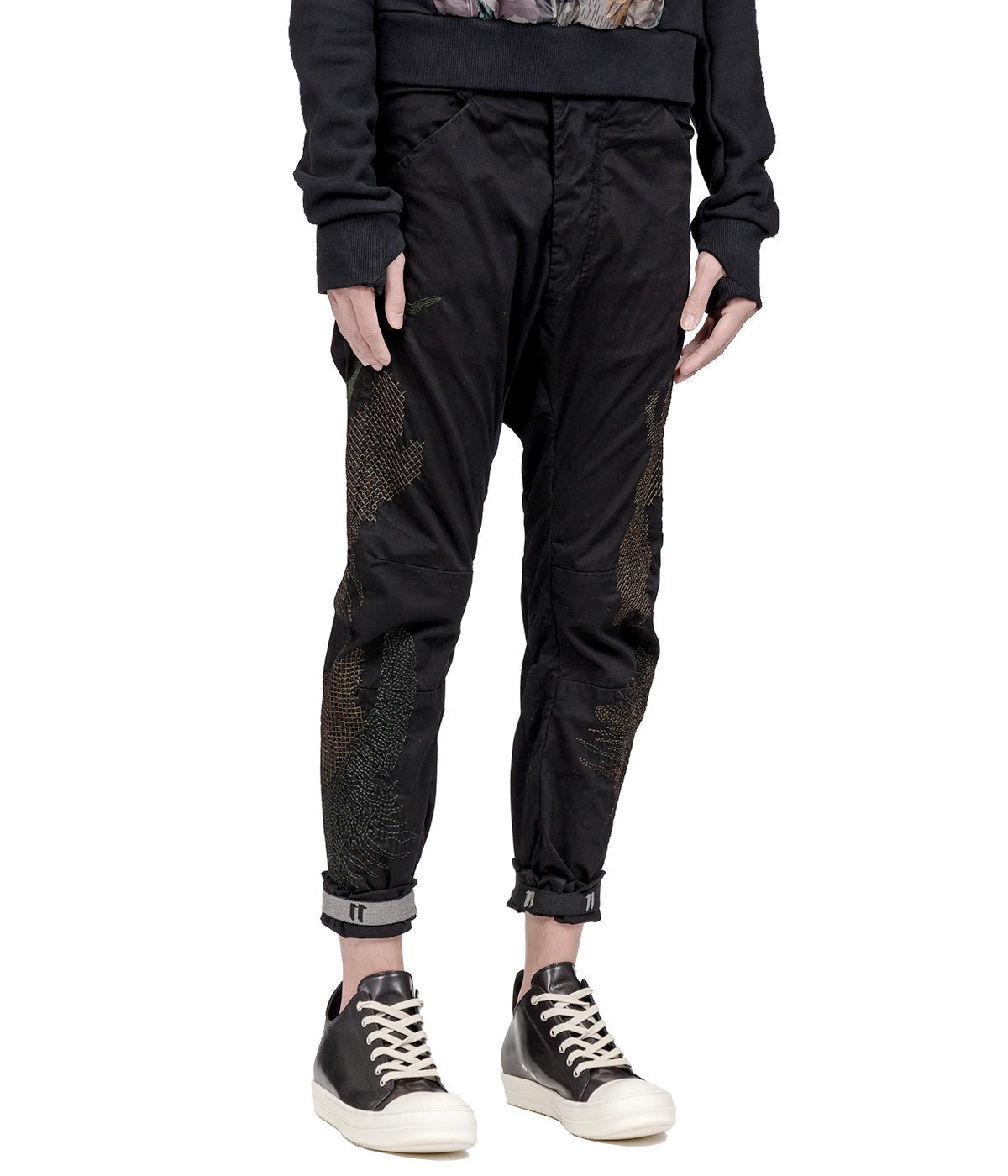 Black Dropped Crotch Cotton Trousers