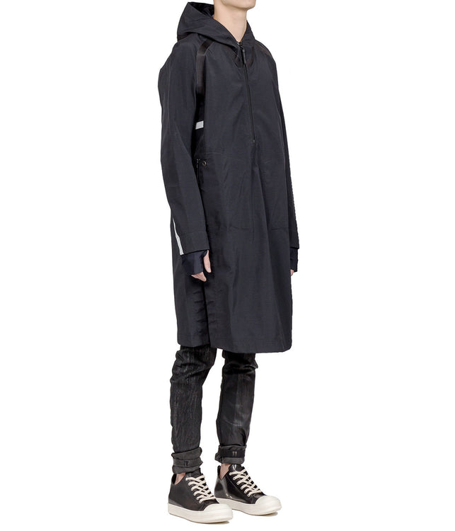 Black Elongated Pullover Parka