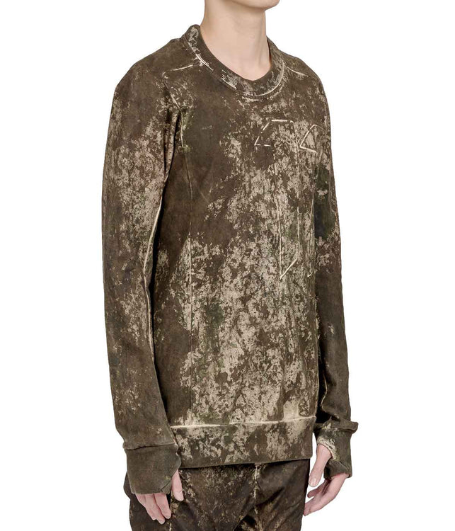 Camo Panelled Logo Painted Sweatshirt