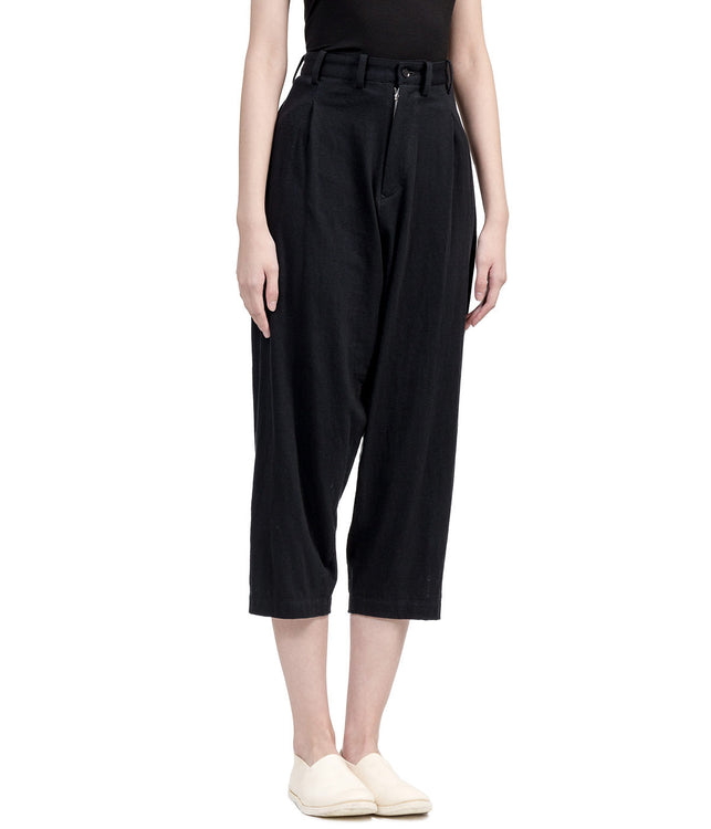 Black Peg-Top Pants