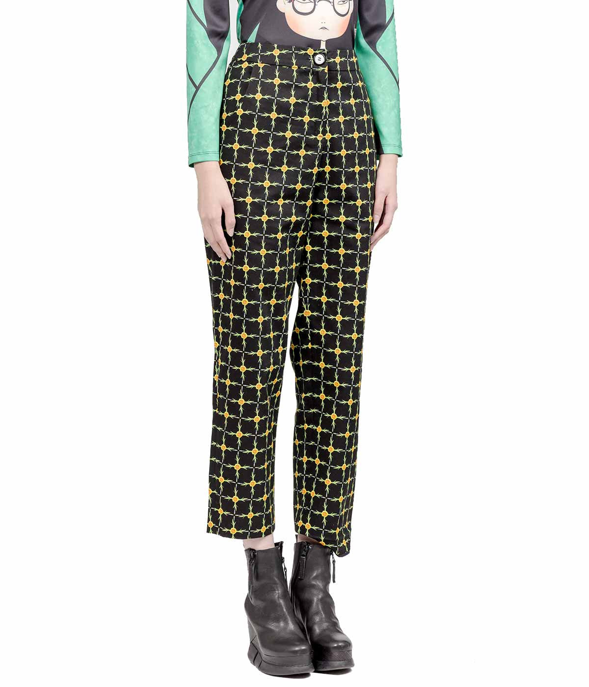 Floral Grid Printed Straight Leg Trousers