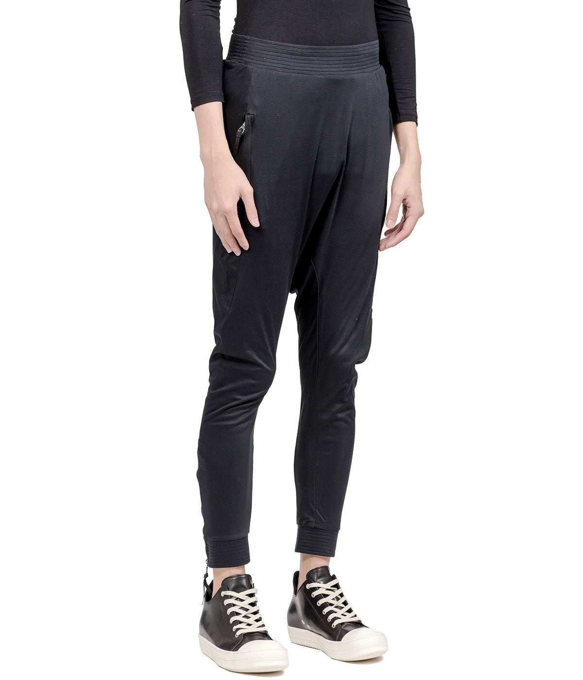 Black Dropped Crotch Lounge Pants