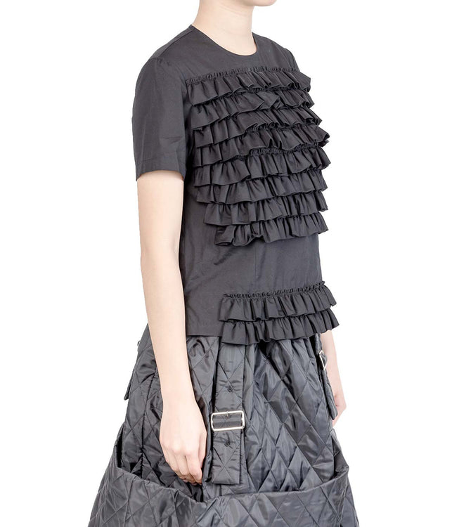 Black Short Sleeved Ruffle Blouse