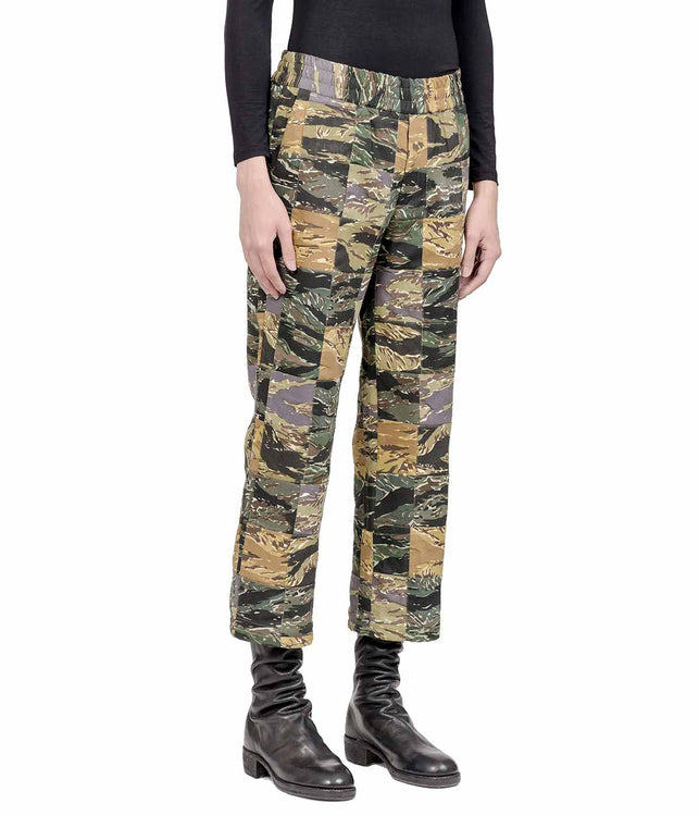 Camo Wide Leg Cropped Patchwork Pants