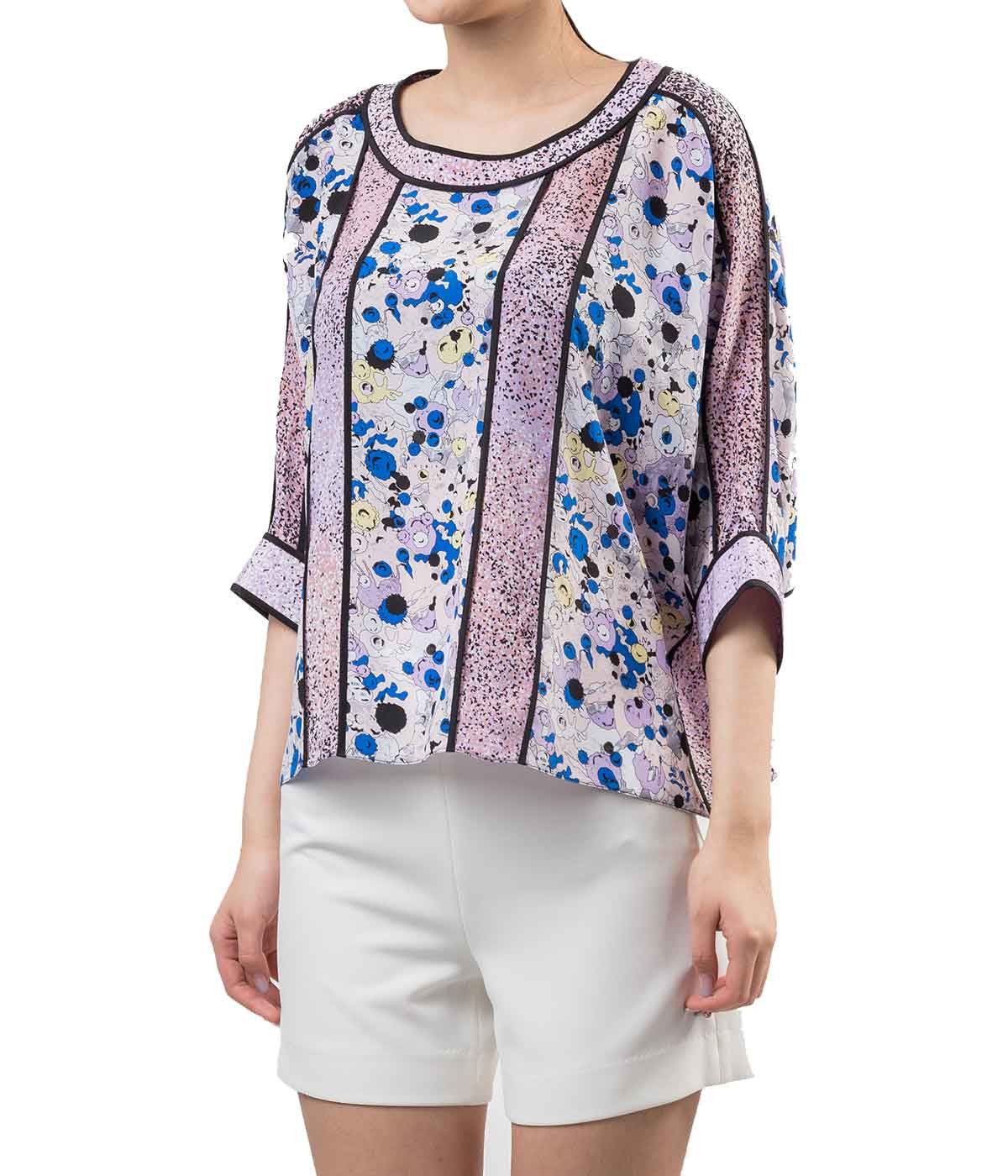 Batwing Printed Silk Blouse
