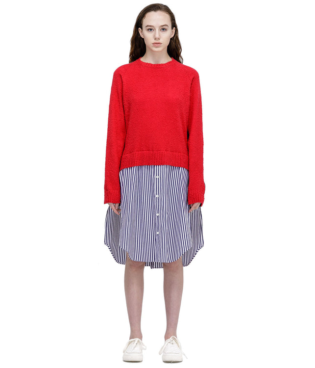 Red Asymmetrical Sweater Dress