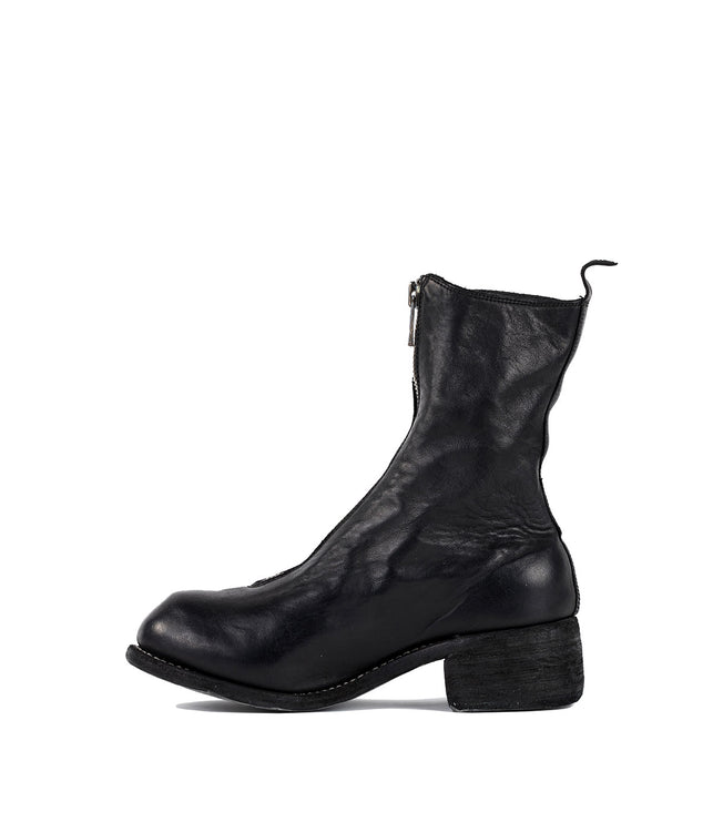 Black Soft Horse Frontal Zip Boots