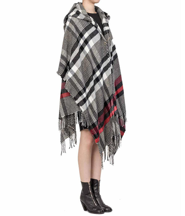 Hooded Plaid Poncho