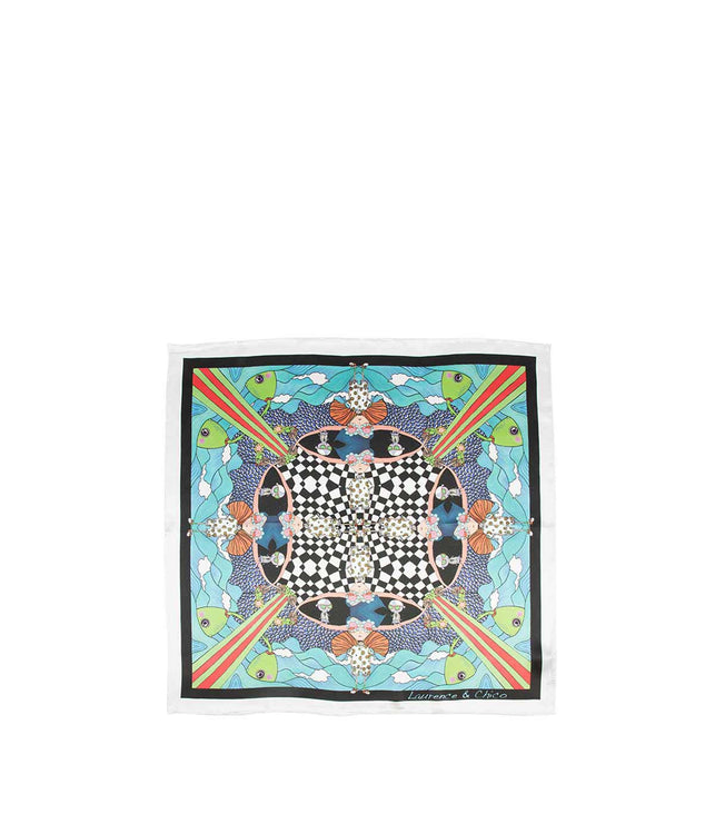 Multi-Coloured Square Silk Scarf
