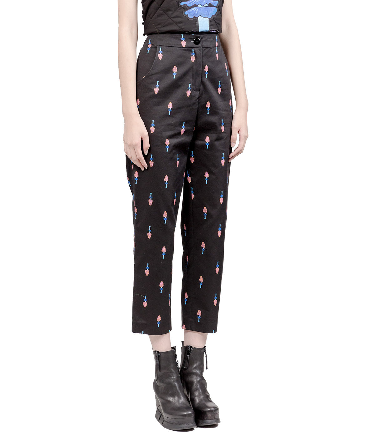 Poisonous Mushroom Printed Straight Leg Trousers