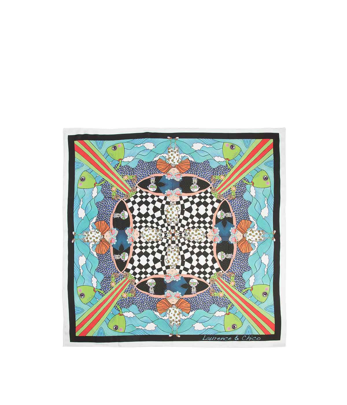Multi-Coloured Large Square Silk Scarf