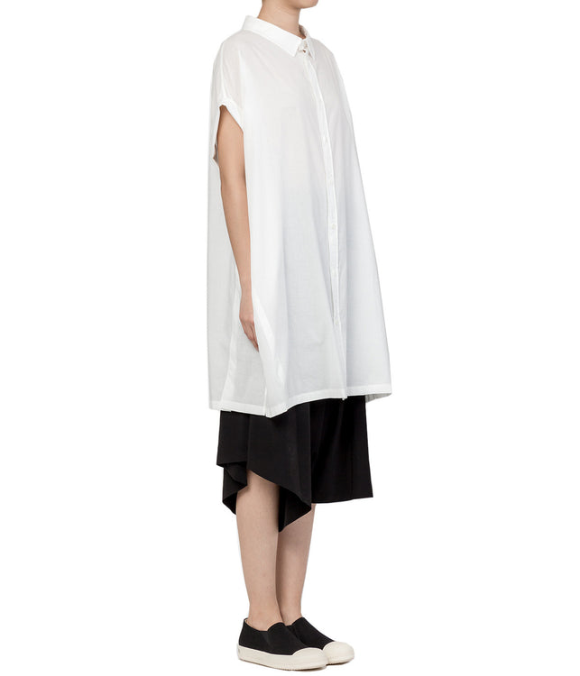 White Roll-up Sleeved Blouse Dress