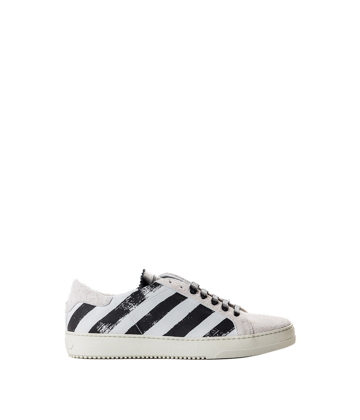 White Brushed Diagonals Sneaker