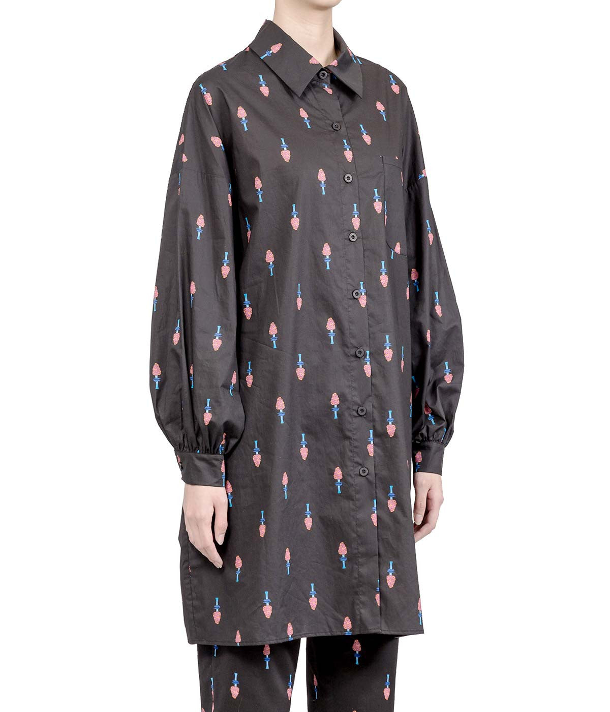 Black Poisonous Mushroom Printed Oversized Shirt