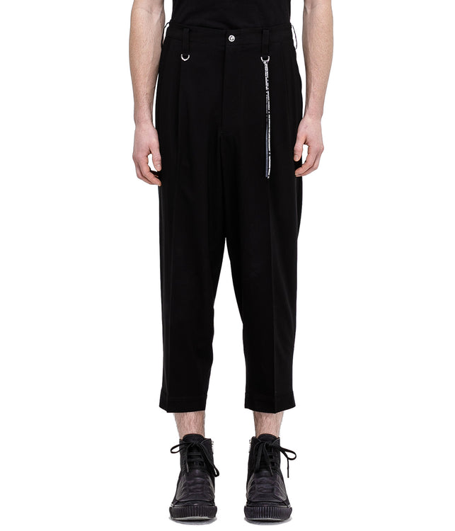 Black Embroidered Wool Pants