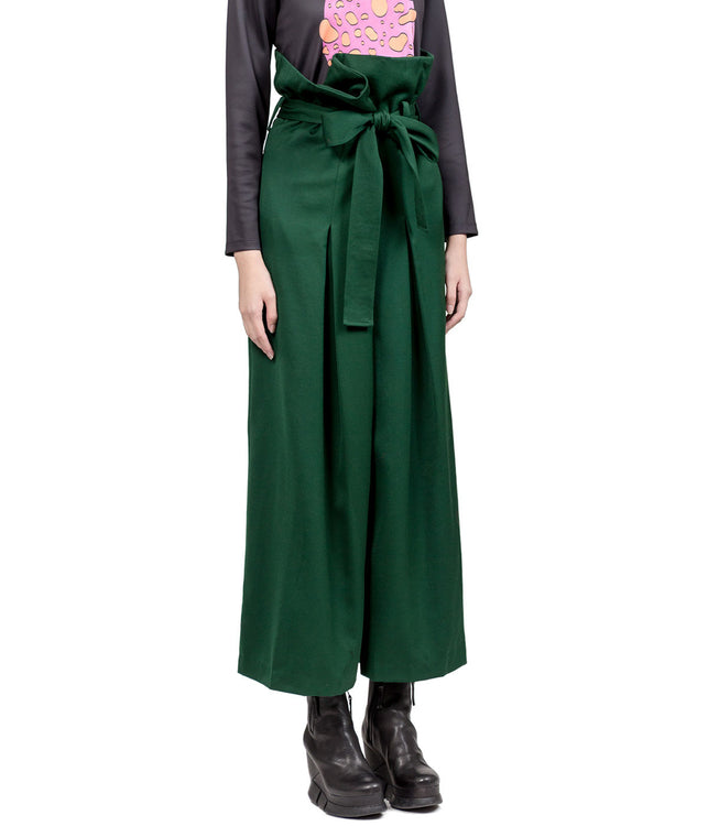 Green High-Waisted Fold-Over Palazzo Trousers