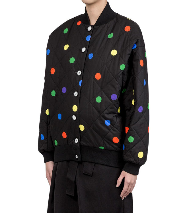 Multicolor Polka-Dot Printed Oversized Bomber
