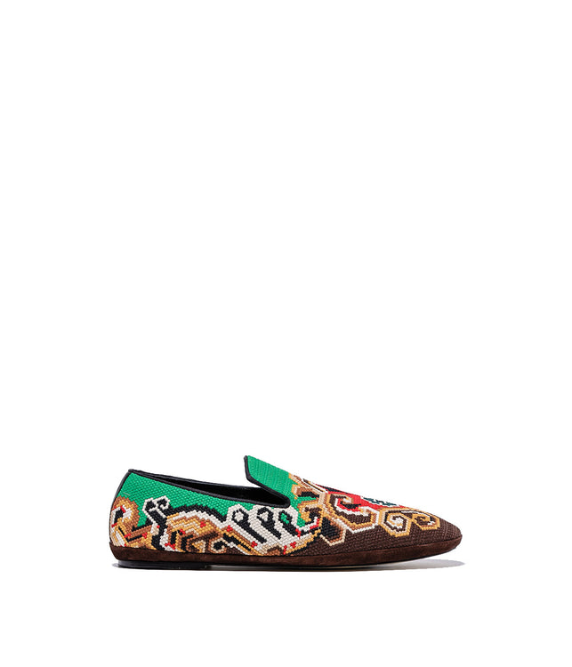 Brown Embroidered Slippers