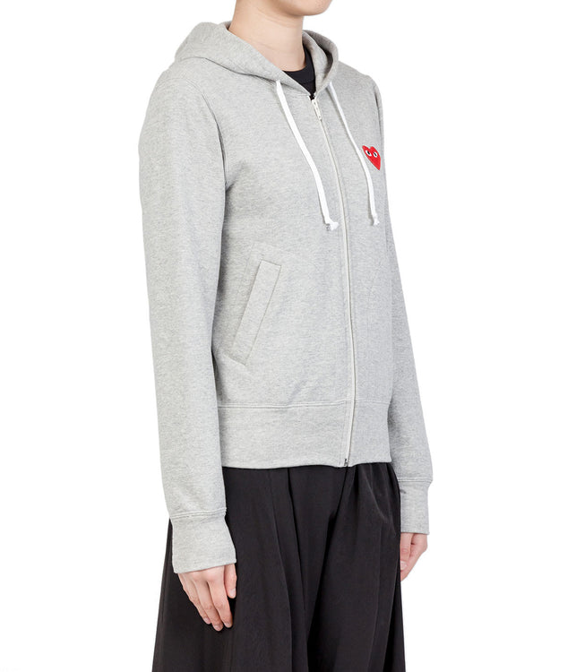 Grey Red Heart Zip Hoodie