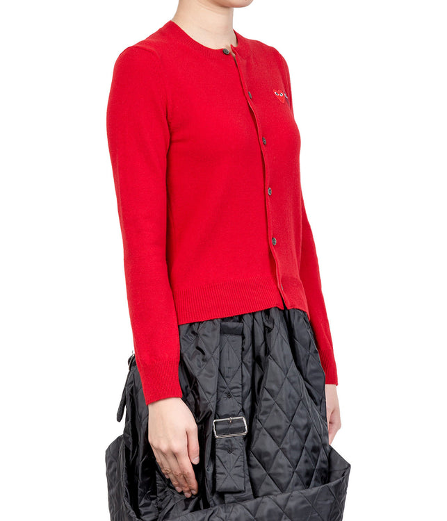 Red Double Hearts Round Neck Cardigan