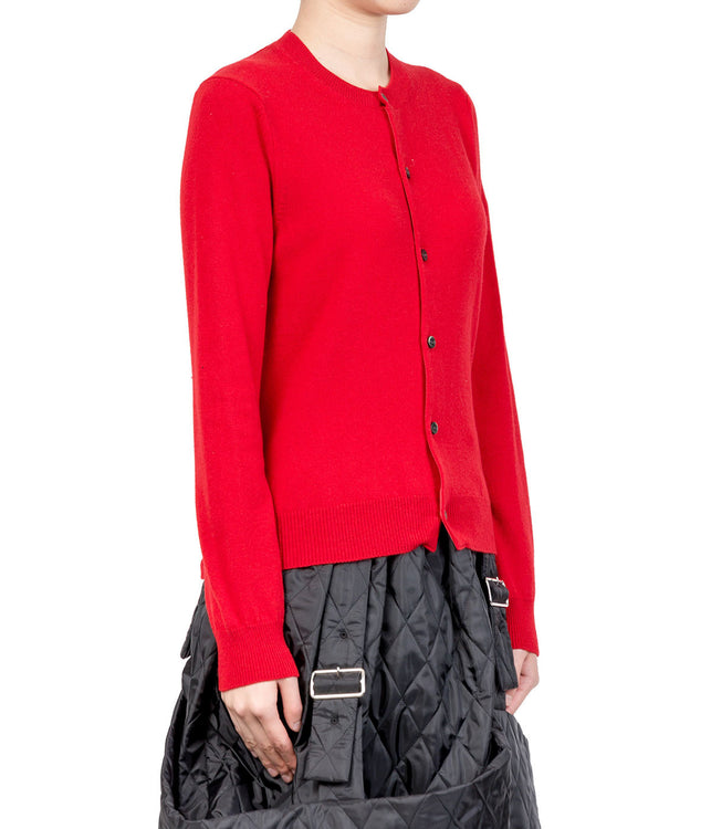 Red Red Heart Round Neck Cardigan