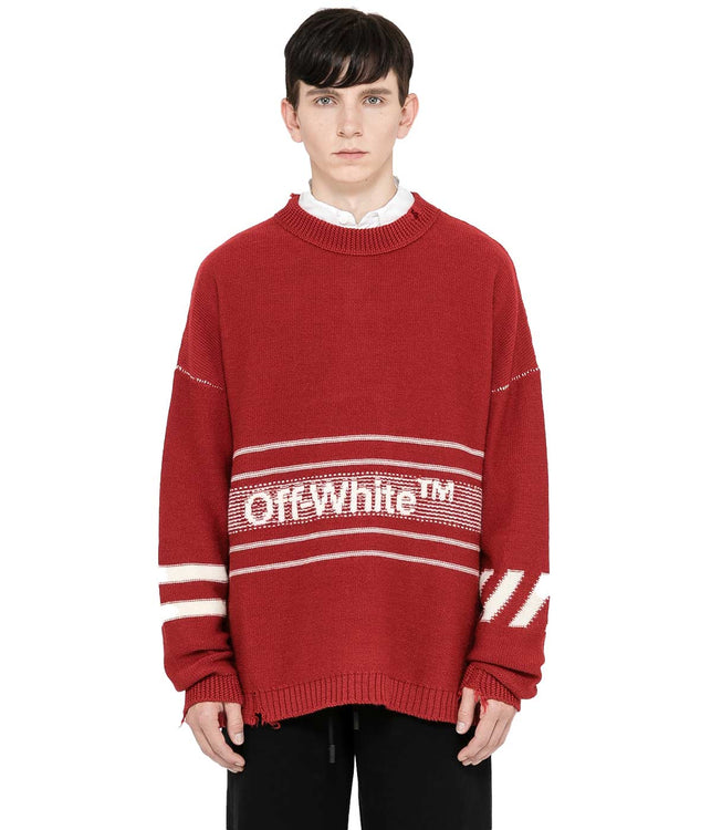 Red Jacquard Logo Sweater