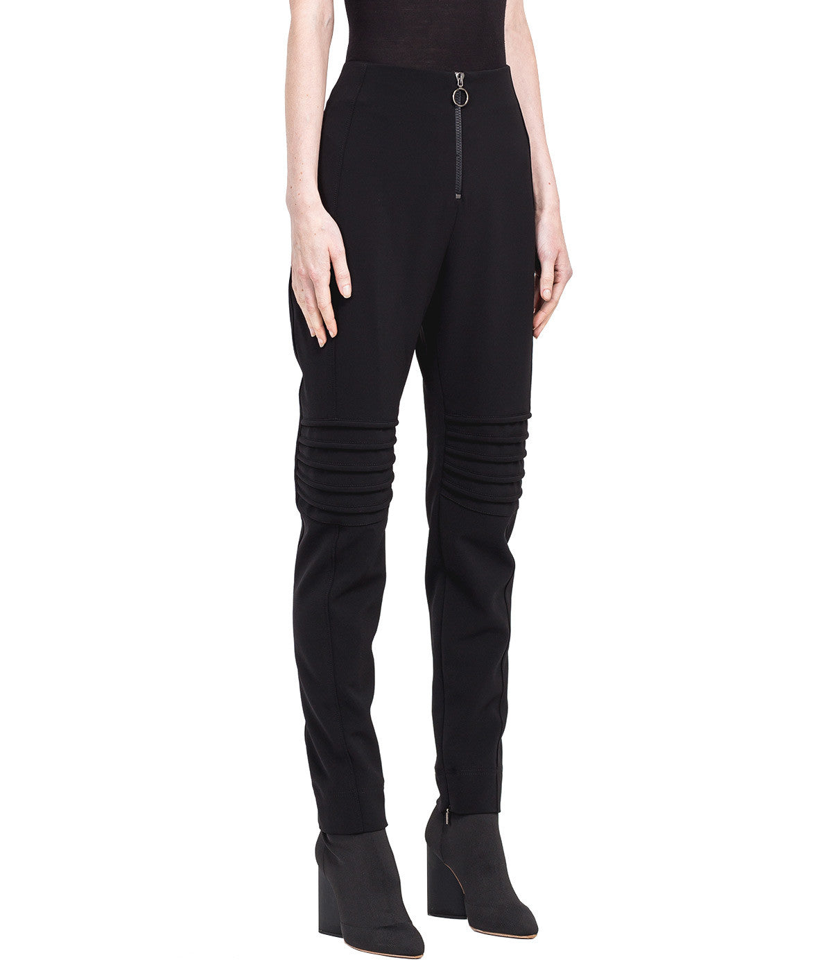 Black Slim Biker Pants